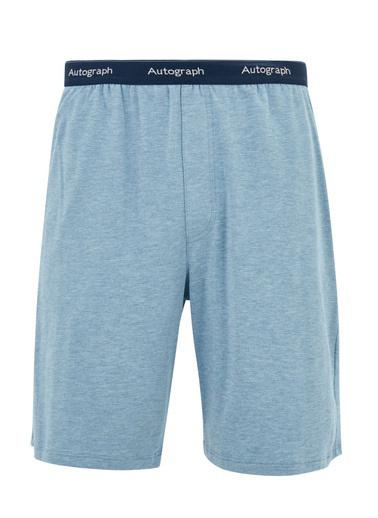 Marks & Spencer Supersoft Supima® Şort Pijama Altı Mavi